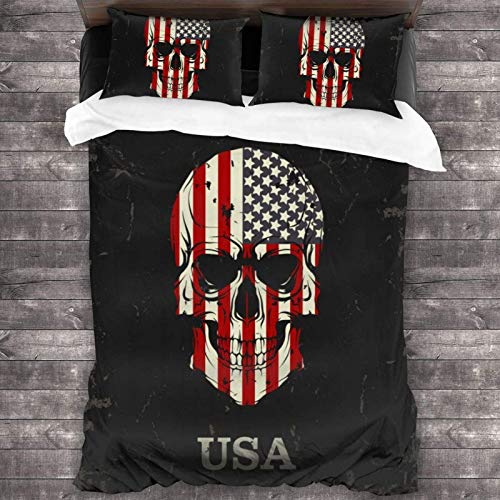 Maja Shop Skull Color of The US Flag Unisex 3-Piece Bedding Set 86'X70' with Zipper Closure Super Soft Microfiber Comforter Cover with Pillowcase for Bedroom Guest Room and Hotel