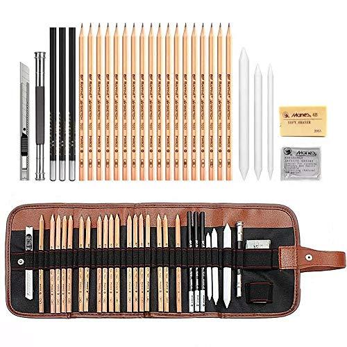 Lapices de Dibujo Artístico, Set de Lápices Colores Profesional Bosquejo Carbón Grafito Sticks, Estuche Lápices de Color