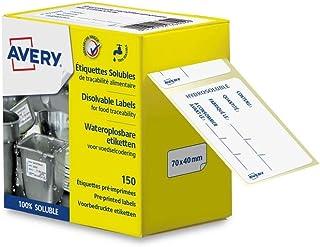 AVERY - Rouleau de 150 étiquettes hydrosolubles de traçabilité alimentaire pré-imprimées - 70x40mm
