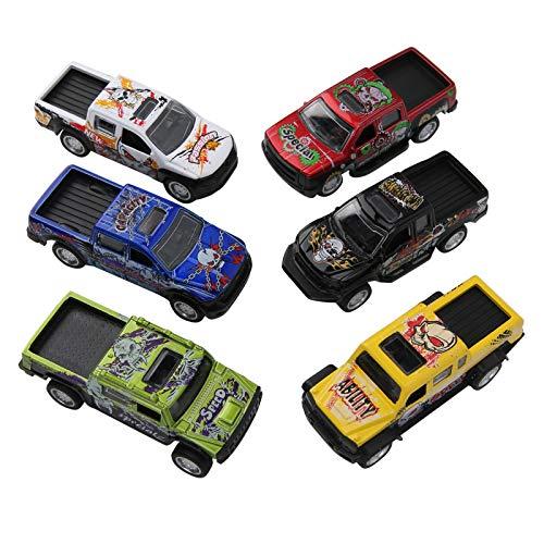 Modelo de camión de simulación, Modelo de Coche de aleación, Hermoso Modelo de Coche de 6 Piezas, 1:64 niños para niños Adultos hogar(Devil Pickup (a Set of 6 Models))