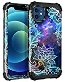 Casetego Compatible with iPhone 12 Case/iPhone 12 Pro Case,Floral Three Layer Heavy Duty Sturdy Shockproof Full Body Protective Cover Case for iPhone 12/12 Pro 6.1 inch,Blue Mandala