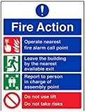 Vsafety 12003bc-s Fire Action Sign, General