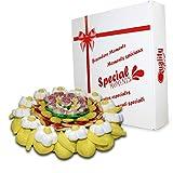 Tarta de Chuches Yellow Flower, Diámetro de 27 cm, sin Gluten, Golosinas Variadas Ideal para...