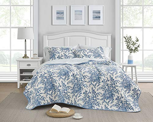 Laura Ashley Home | Bedford Collection Luxury Premium Ultra Soft Quilt Set, Comfortable & Stylish, All Season Bedding, Full/Queen, Delft