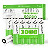 VONIKO AA Rechargeable Batteries 12 Pack– HR6 Ni-MH Batteries 1.2V Pre-Charged - Low Self Discharge(Accurately 2600mAh, Maximum 2800mAh)