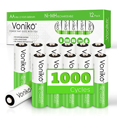 VONIKO AA Rechargeable Batteries 12 Pack – High Capacity Rechargeable AA Batteries (2600mAh) – Pre-Charged Rechargeable Battery - Ultimate Lifespan Ni-MH HR6