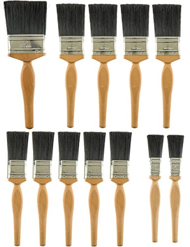 Unity 12-Piece Paint Brush Set -Long Pro Style Wooden Handles - Pure Bristle and...