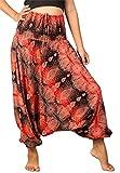 Lofbaz Mujeres Tailandés Cachemir Smocked Cintura Mono Pantalones Rojo 4XL