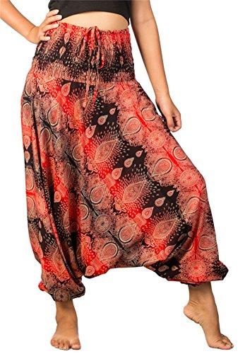 LOFBAZ Yoga Harem Pants for Women Boho Hippie Bohemian Clothing Womens Beach Indian Gypsy Clothes Genie Maternity Jumpsuit Oval Black & Red XL