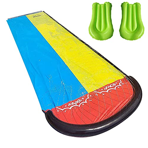 Ya-tube Double Lane Slip Lawn Water Slide, Outdoor Garden Backyard Double Racing Lanes Long Water Slide with Crash Pad, Durable Super-thick PVC Water Splash Slide Water Toys for Kids and Adults