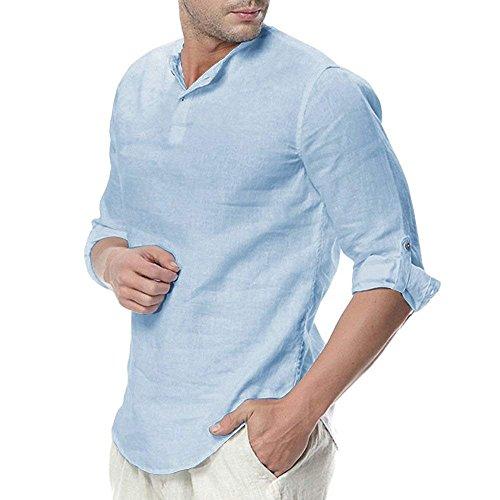 ShallGood Camisa Hombre Cuello Mao Lino Blusa Manga 3/4 Camisas Top Sin Cuello De Color Sólido Blusas Suelta Camisas De Trabajo Suave Cómodo Transpirable A Azul X-Large