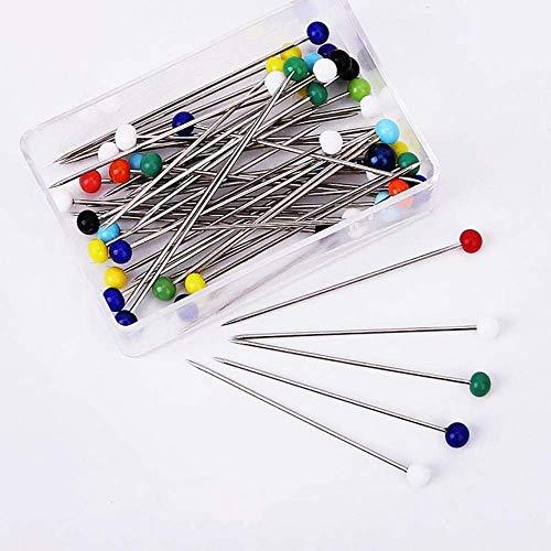 200 Stück Glaskopfnadeln, Edelstahl Stecknadeln Glaskopfstecknadeln für Schmuck Herstellung, Nähen und Handwerk(38mm)