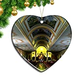 Hqiyaols Ornament Catedral de Costa Rica de Alajuela Navidad Adornos Colgantes Decoración Pieza Cerámica Forma Corazón Recuerdo Ciudad Viaje Regalo