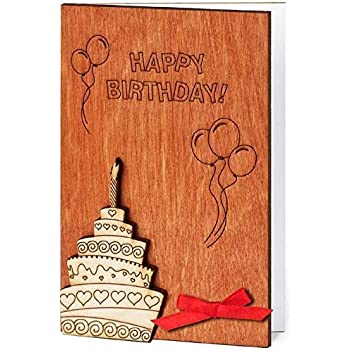 Amazon Com Handmade Real Wood Happy Birthday Greeting Card Wishes With Flowers Wooden Present For Anyone Him Man Her Woman Grandfather Son Nephew Aunt Uncle Sister Brother Coworker Friend Office Products