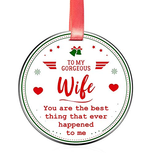 Elegant Chef Wife Christmas Ornament Gift- to My Gorgeous Wife You are The Best Thing That Ever Happened to me- Xmas Celebration Gift for Her- Love Collectible Keepsake- 3 inch Flat Stainless Steel