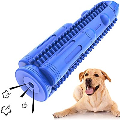 HETOO Dog Toothbrush, Puppy Teeth Cleaning Chew Toys Durable Natural Rubber Dog Brushing Stick Dental Care Bones for Dogs Bite Resistant
