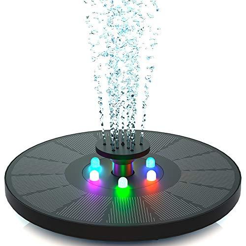 Senders - Fontana a zampillo a energia solare da 3 W con luce a LED, pompa per laghetto da giardino o vasca per uccelli