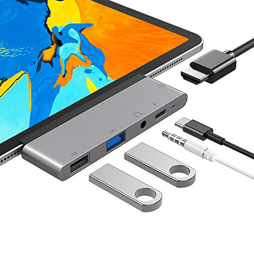 FLYLAND USB C Hub, 5 in 1 USB C to 4K HDMI Adapter with USB3.0, USB2.0, 3.5mm Headphone Jack, PD Charging, HDMI Converter Compatible with iPad Pro 11