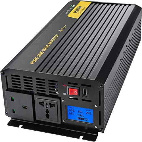 VEVOR Inverter a Onda Sinusoidale Pura, 1500W Invertitore di Potenza, Invertitore Onda Sinusoidale Pura da DC 12V a AC 240V, Invertitore per Auto con Schermo LCD e Indicatori LED, Protezione Multipla