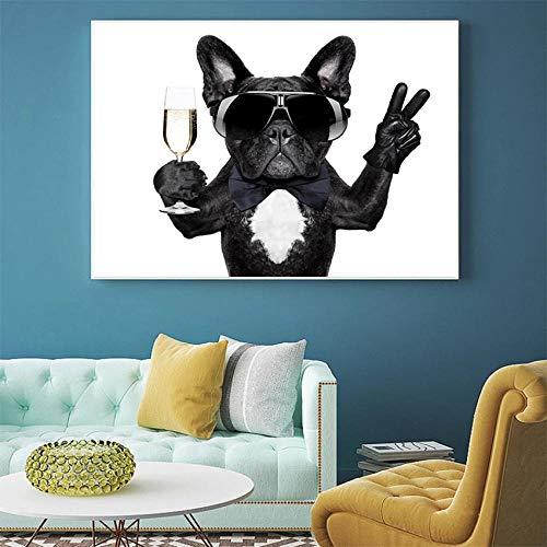 Arte de la pared lienzo pintura animales cartel moderno un bulldog beber con gafas de sol decoración del hogar imágenes para la sala de estar 60x80cm sin marco