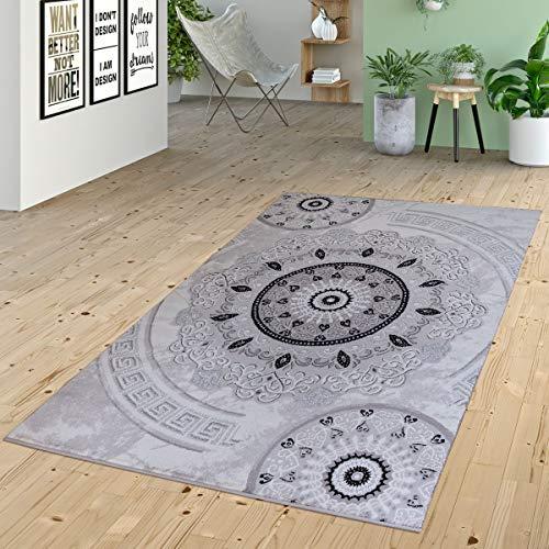 Vloerkleed, laagpolig, ornamenten, cirkels in Versace Design, patroon, grijs, antraciet, zwart