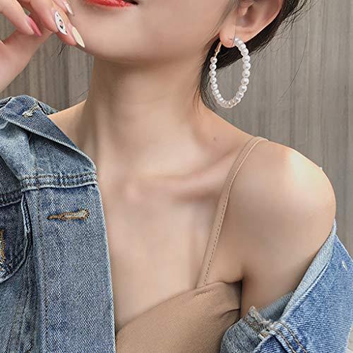 Pendientes de aro de perlas blancas Weishazi, tamaño grande, joyería