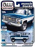 Autoworld 1/64 diecast Model of 1978 Chevy K10 Silverado Fleetside Pickup Truck Blue Iridescent Metallic & White Ltd Ed to 15808 pcs 64262-AWSP044 B