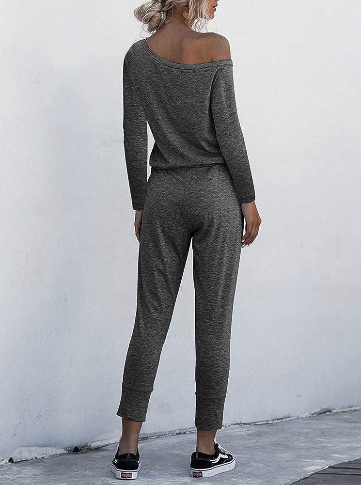REORIA Women Casual Long Sleeve Off Shoulder Loose Long Romper Harem Jumpsuits