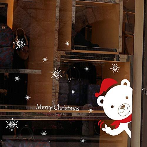Oso de Navidad Etiqueta de la pared Tienda de nieve Ventana de vidrio Etiqueta de Navidad Diseño de decoración Apliques Decoración del hogar El tamaño de la imagen es solo para referencia