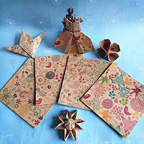 20PCS Restore Ancient Square Floral Pattern Origami Paper Single Sided DIY Kids Doblado Paper Craft Scrapbooking Decor Pattern, 10X10cm como imagen