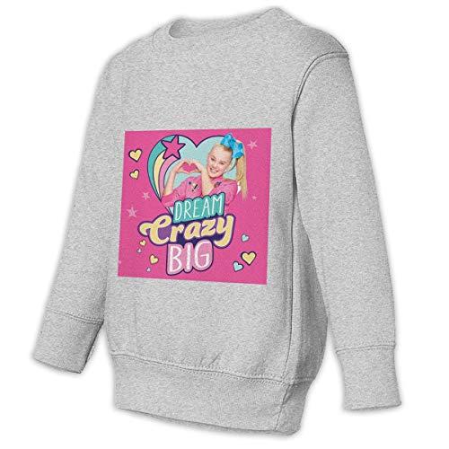 JoJo Siwa Kids' Slouchy Solid Sweatshirt for Boys Girls Crew Neck Sweater Kids Long Sleeve T-Shirt Tops Gray