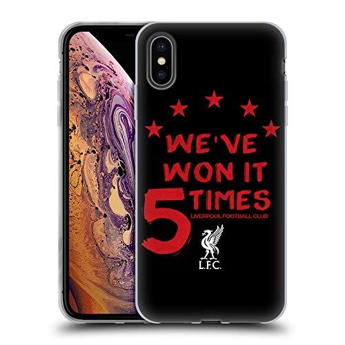 Head Case Designs Oficial Liverpool Football Club Negro 2 Ganó Lo 5 Veces Carcasa de Gel de Silicona Compatible con Apple iPhone XS MAX