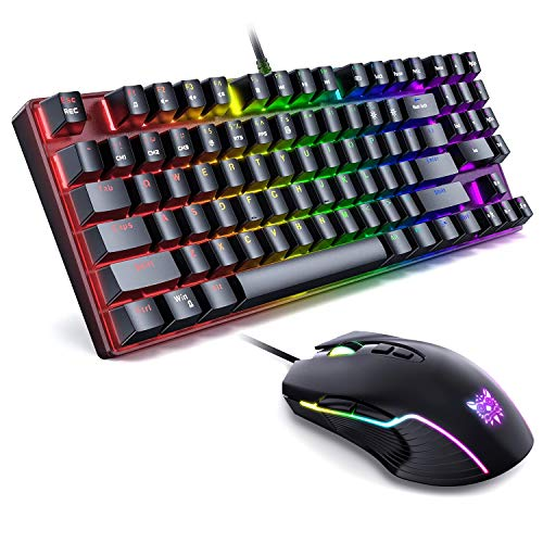 ONIKUMA Gaming Mechanical Keyboard and Mouse Combo, Wired 89 Keys Rainbow Backlit Gaming Keyboard with Number Keys & Blue Switch for PC Gamer Computer Laptop, UP to 6400 DPI Mouse with 7 Buttons
