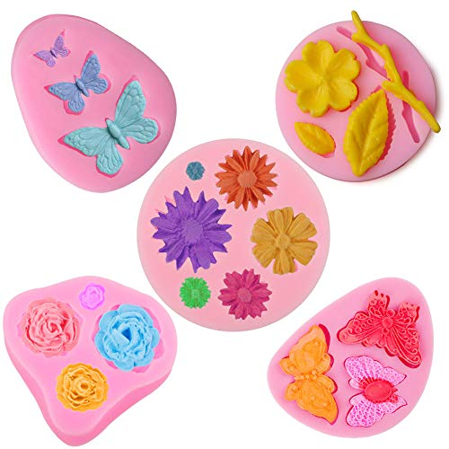 Stouge Fondant Cake Molds 3D Butterfly and Flower Candy Silicone Molds Set, Cake Decoration, Cupcake Topper, Polymer Clay, DIY Handmade Baking Tool