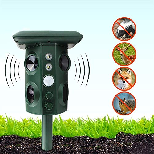 FLLOVE Solar Powered USB Gato del Perro del Reflector del Animal Sensor PIR Impermeable al Aire Libre Jardín Anti Alarma Ultrasonidos Solar Repelente de Drive