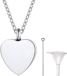 PROSTEEL Always in My Heart, Perfume Locket, Hair Locket, Ashes Urn Necklace, Custom Text Available, Memorial Keepsake Jew...