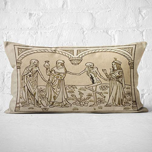 Dance Macabre Gothic Medieval ArtThrow Pillow Case,Gifts Wife, Sister, Husband, Gothic Lover, Gothic Home Decor, 20 X 12 Inch Gothic Art Linen Cushion Cover for Sofa Couch Bed Decoration
