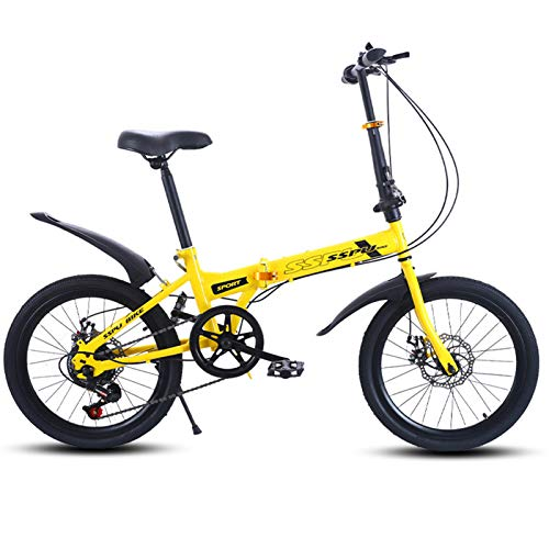Bicicleta Para Niños,Bicicleta Compacta,Bicicleta Portátil,Mini Bicicleta Plegable Ligera,Bicicleta Bicicleta,Bicicleta De Carretera,Bicicleta De Montaña,20 Pulgadas Velocidad Fren-Amarillo 150x116cm(