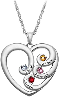 JIARUI Personalized 925 Sterling Silver Mother`s Engraved 4 Name Heart Shaped with Birthstone Family Jewelry Necklace
