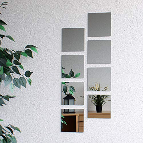 8 morceaux de carreaux de miroir, 15x15cm, décoration murale, miroir mural
