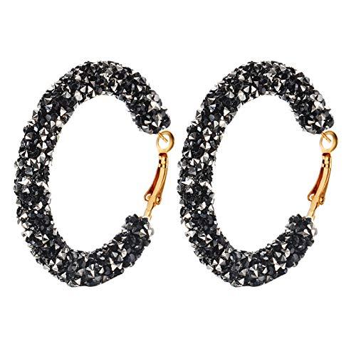 Ruby569y Pendientes colgantes para mujeres y niñas, con incrustaciones de diamantes de imitación geométricos, grandes y redondos, para regalo, color negro