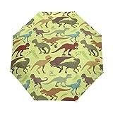 Paraguas amarillo dinosaurio mujeres niñas hombres cierre automático pequeño bolsos lluvia domingo señoras 3 plegable