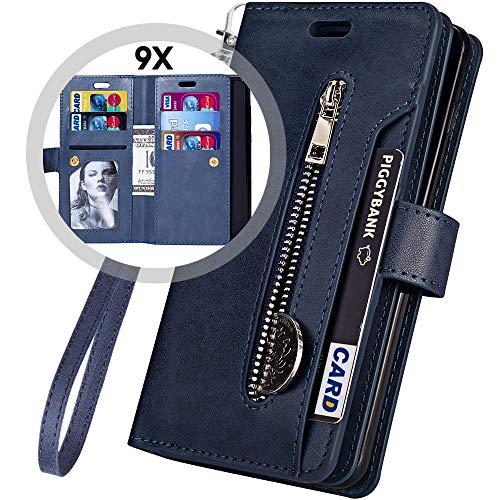 Keepxyz Funda Tipo portafolios Desmontable para iPhone 8 Plus, Estilo, Piel Estilo clásico, 9 Tarjetas + Soporte magnético, Bolsillo con Cierre y Correa y 2 en 1, para iPhone 7 Plus, iPhone 8/ipho