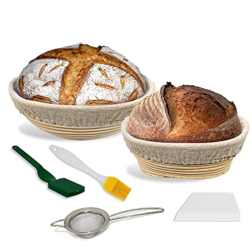 SiliQueen Banneton Bread Proofing Basket - Set of 2 Shapes 9 Inch Round and 8 Icnh Oval Benneton Basket with Bread Lame, Flour Strainer, Brush, Scraper and Linen Liner Cloth