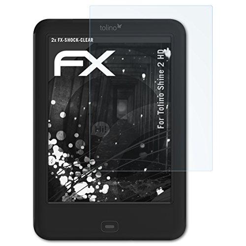 atFolix Schutzfolie kompatibel mit Tolino Shine 2 HD Panzerfolie, ultraklare und stoßdämpfende FX Folie (2X)