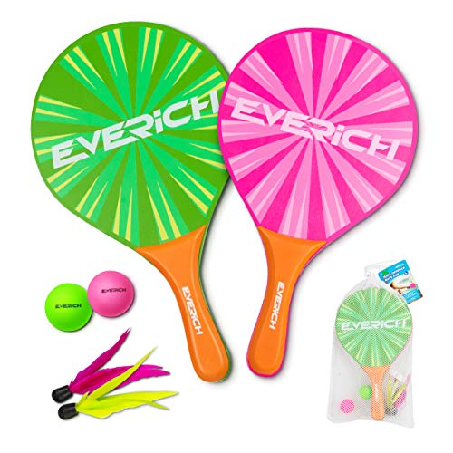 Beach Paddle Set for Beach Tennis Wooden Paddle Game Indoors or Outdoors (2 Waterproof Rackets with Soft Handle, 2 Balls, 2 Shuttlecocks and 1 Bag) (Pink & Green)