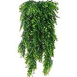 DXLing 2 Piezas Artificiales Plantas Colgantes Faux Colgante Boston Helechos Flores Vine Plantas de Plástico Plantas Colgantes Hiedra Falsa Planta para Interior o Exterior Balcon Puerta Valla Jardín