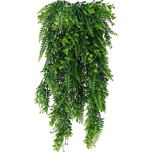 2 Piezas Artificiales Plantas Colgantes Faux Colgante Boston Helechos Flores Vine Plantas de Plástico Plantas Colgantes Hiedra Falsa Planta para Interior o Exterior Balcon Puerta Valla Jardín