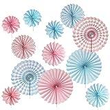 YLXT飾り付けセット ペーパーファン ペーパー飾り付け  ブルー+ピンク12点 扇フラワー パーティー クリスマス ハロウィン 誕生日 披露式 折り畳み 扇子の組み合わせ 装飾 ペーパーデコレーション 誕生日飾り付けセット