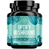 OPTIFY Mushroom Supplement - Max Strength 4X Extract Lions Mane, Cordyceps, Reishi & Chaga - Immune System Support for Stress Relief, Energy, Focus, Memory | Nootropic Brain Booster | 90 Capsules